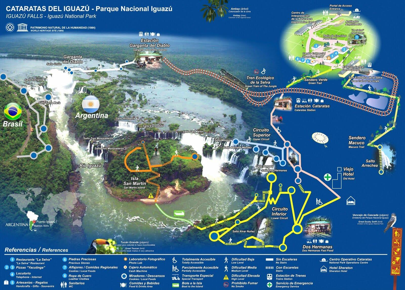 Descubra todos os passeios que estão inclusos no lado argentino das Cataratas do Iguaçu mapa cataratas iguaçu