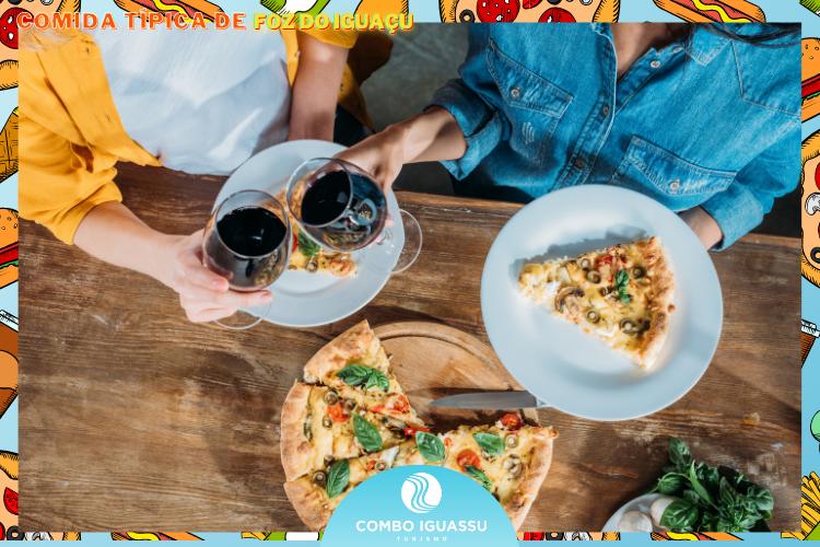 Vinho e pizzas -Comida Típica Italiana