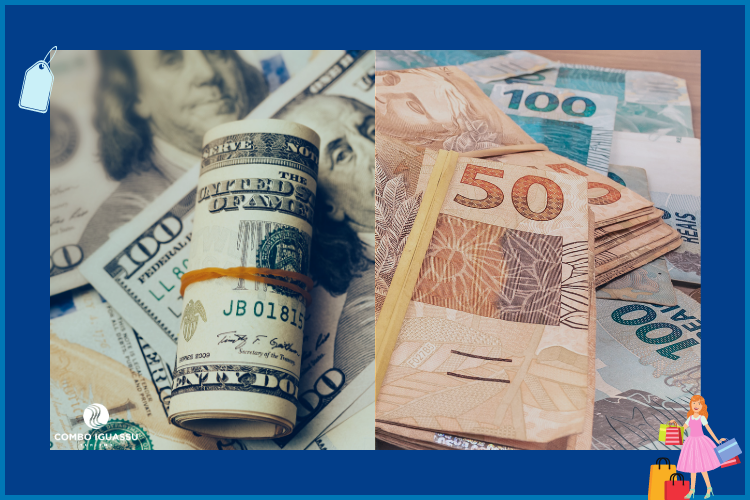 Dinheiro - Dólar e Real | Compras no Paraguai | Loja iShop
