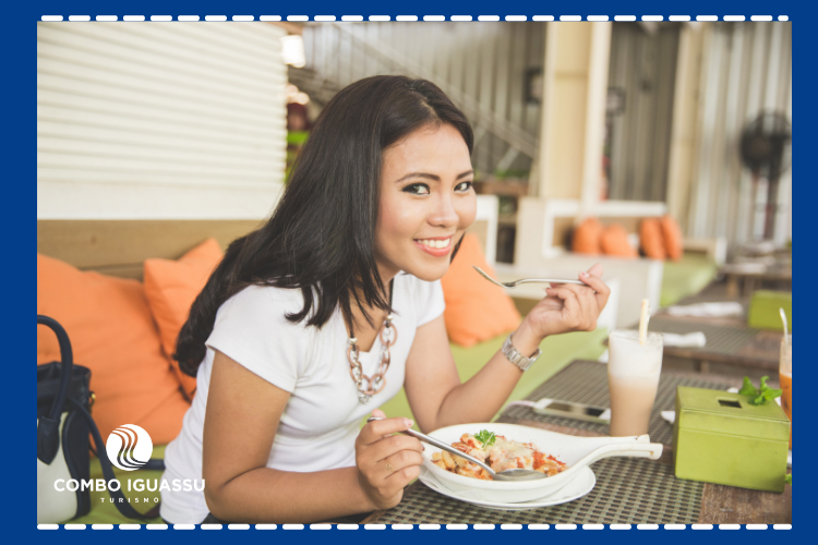 Ilustração de uma mulher comendo.