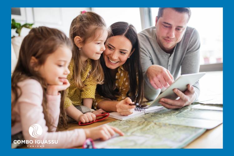 Ilustração de planejamento para viajar com crianças.