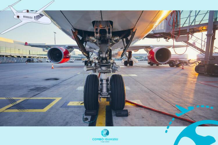 Ilustração como se fosse um avião no aeroporto de Foz do Iguaçu.