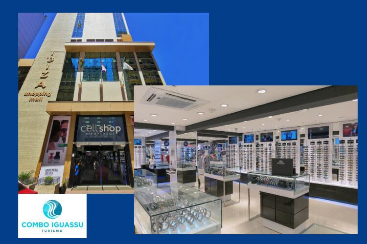 Fachada e parte interna da Cellshop, uma das lojas eletrônicas no Paraguai.