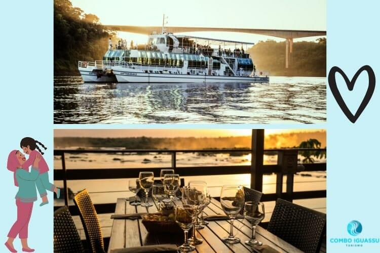 Lindas vistas do pôr do sol na embarcação do Kattamaram II e do restaurante Porto Canoas.