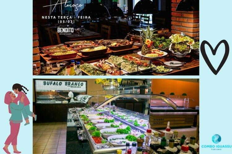 Deliciosas opções nos buffets do restaurante Bendito e Bufalo Branco.