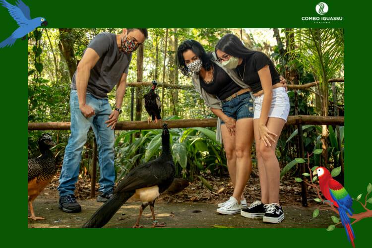 Família encantada com os animais presentes no Parque das Aves Foz do Iguaçu.